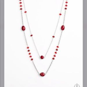 Red and Silver Double Strand Necklace